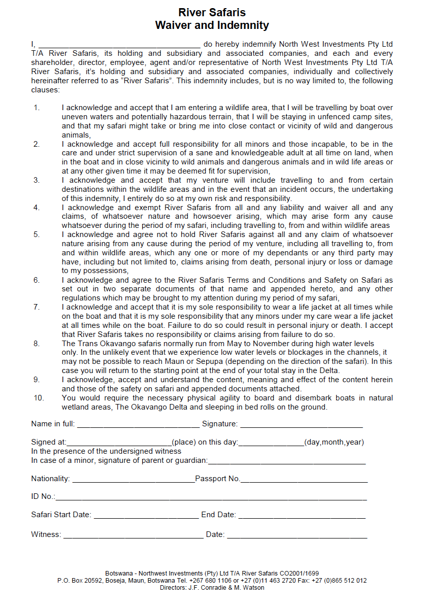 Perfect Download Here An Example Of How A Indemnity Form Looks Like Inside Indemnity Forms